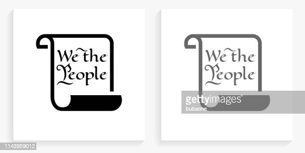 american constitution black and white square icon - historical document stock illustrations, clip art, cartoons, & icons