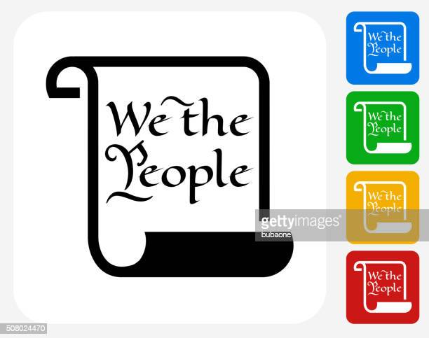 american constitution icon flat graphic design - bill of rights stock illustrations
