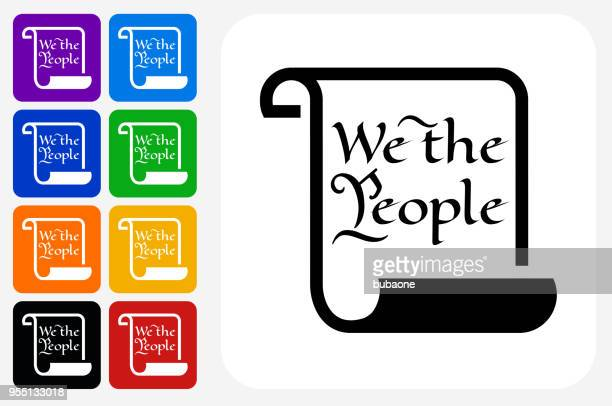 american constitution icon square button set - constitution stock illustrations