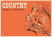 American country music festival poster with musician playing guitar