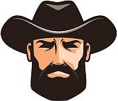 American cowboy logo or label. Sheriff, wrangler, rodeo symbol. Cartoon vector illustration