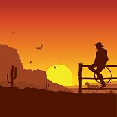 American Cowboy on wild west sunset landscape in the evening