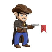 American cowboy sheriff cartoon illustration