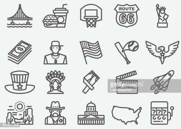 USA American Culture Line Icons