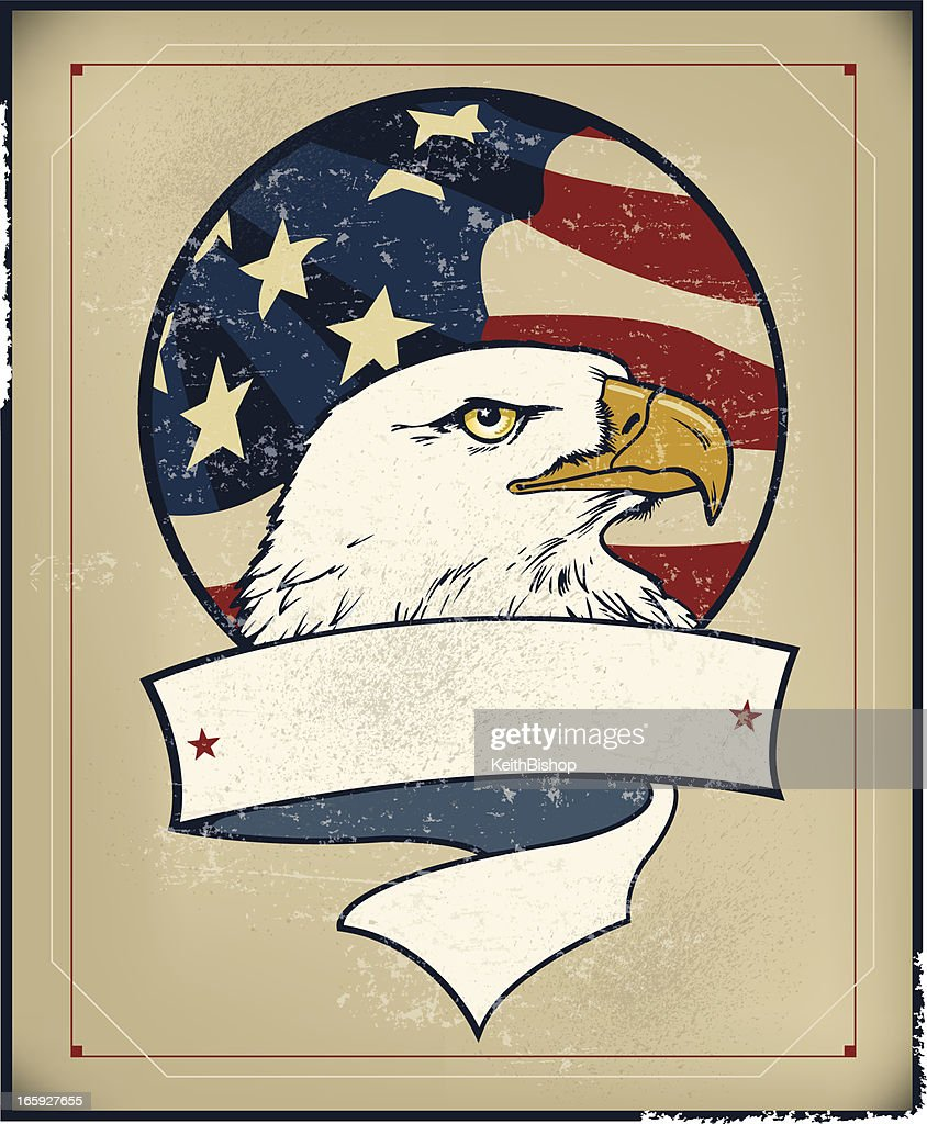 American Eagle and Flag Banner - Retro