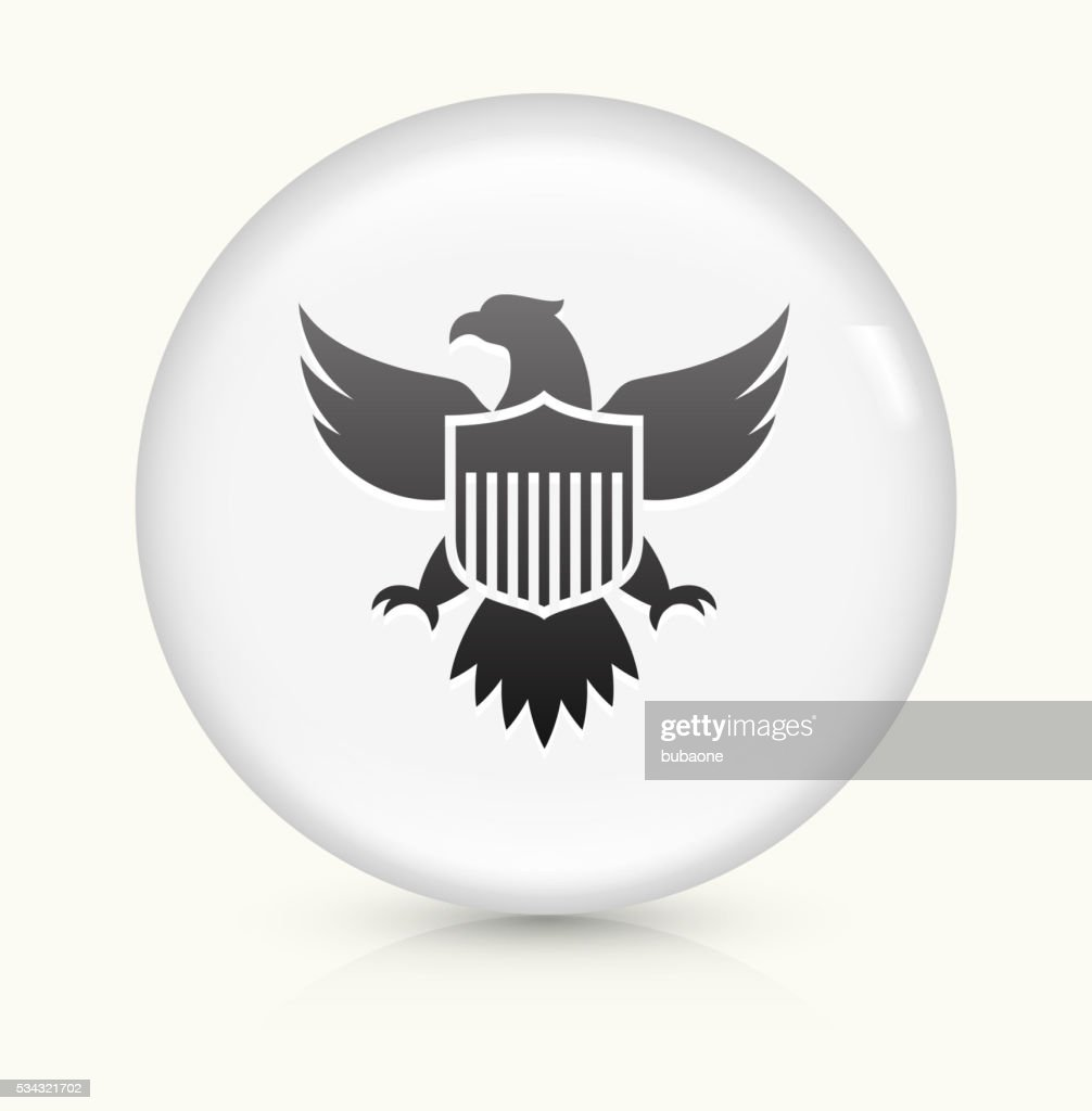 American Eagle and Shield icon on white round vector button