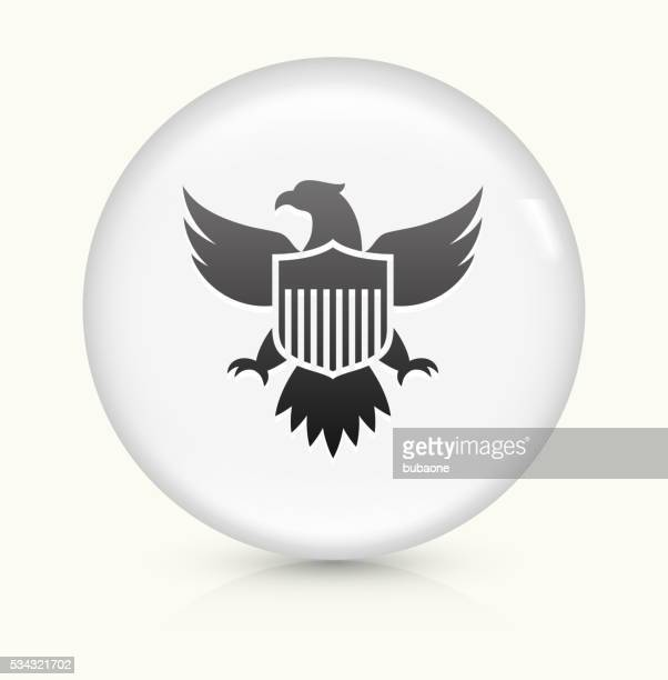 american eagle and shield icon on white round vector button - bald eagle stock illustrations