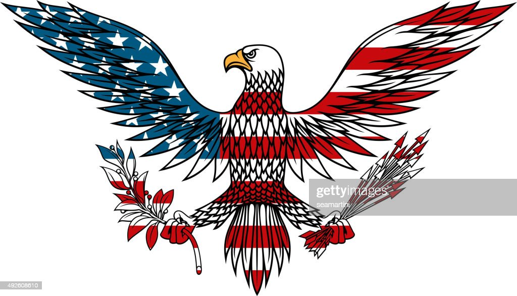 American eagle colored in USA flag colors