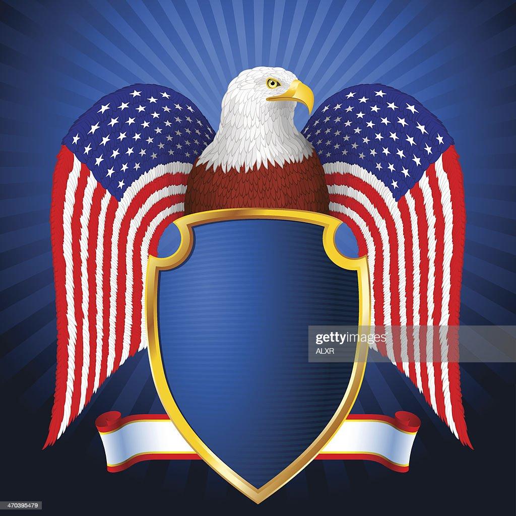 American Eagle Flag Wing Shield eps8