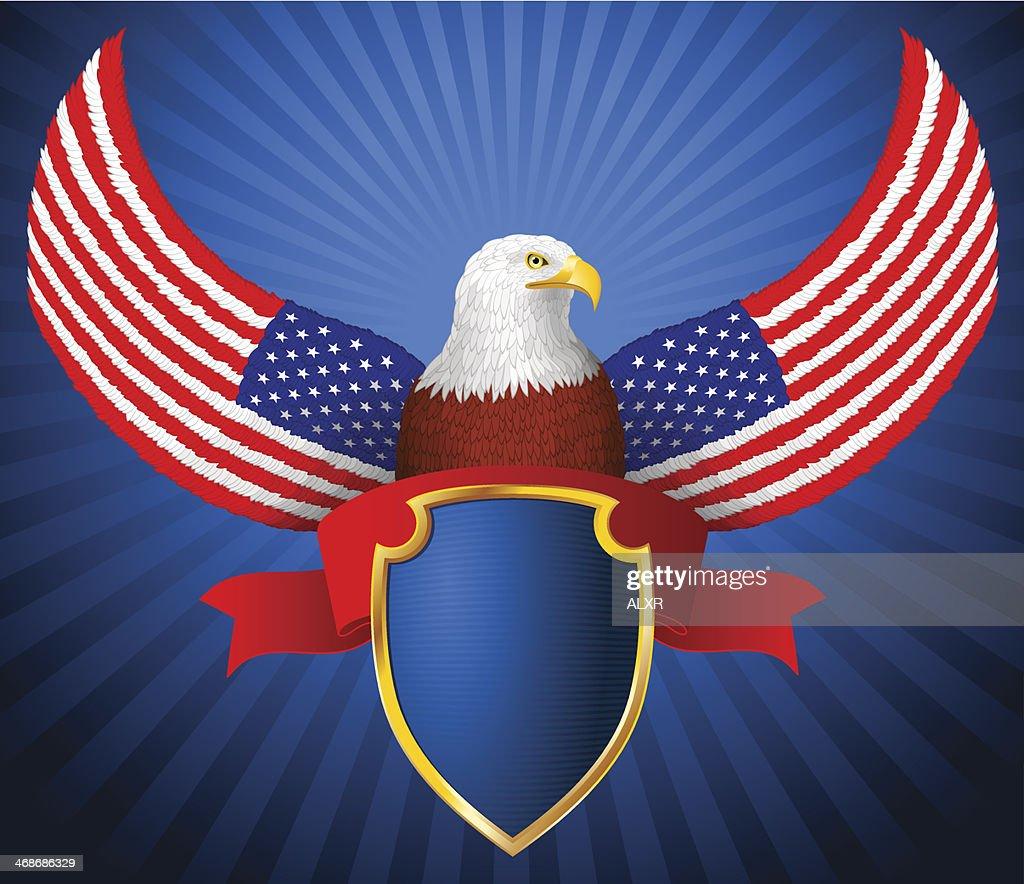 American Eagle Flag Wing Shield Ribbon eps8