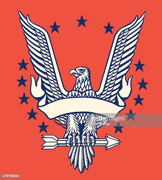 american eagle with banner - adler stock-grafiken, -clipart, -cartoons und -symbole