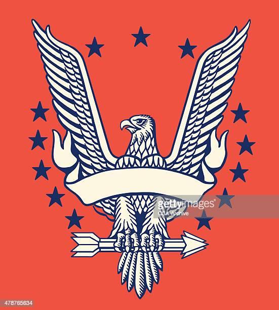 illustrations, cliparts, dessins animés et icônes de american eagle with banner - aigle