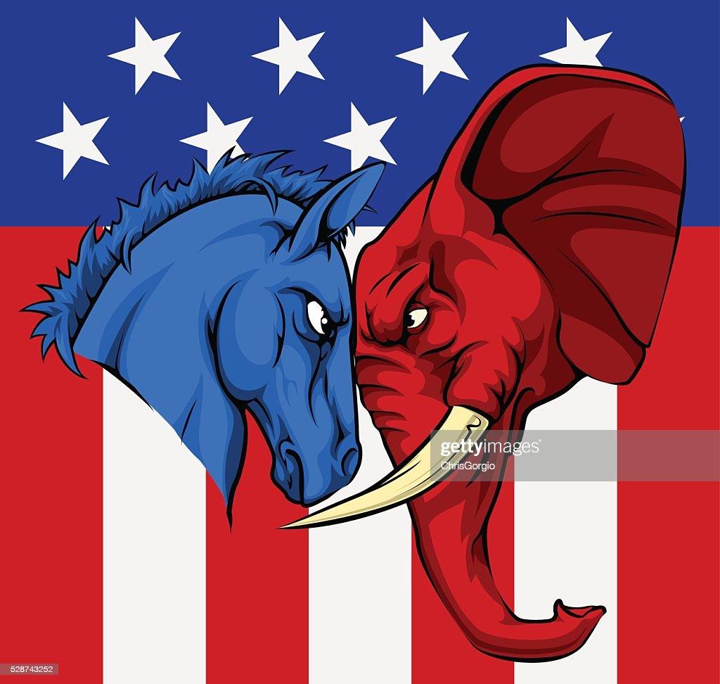 American Election Donkey Elephant Concept