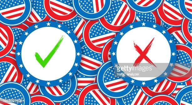 ilustraciones, imágenes clip art, dibujos animados e iconos de stock de elecciones estadounidenses - urna de voto
