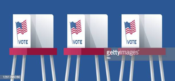 american election voting booths - voting booth stock illustrations