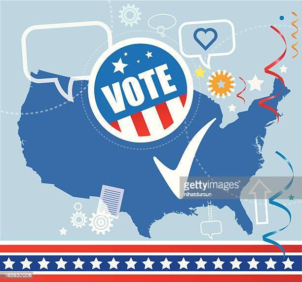 ilustrações, clipart, desenhos animados e ícones de eleições americanas - preencher um formulário