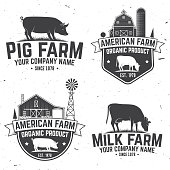 American Farm Badge or Label. Vector illustration