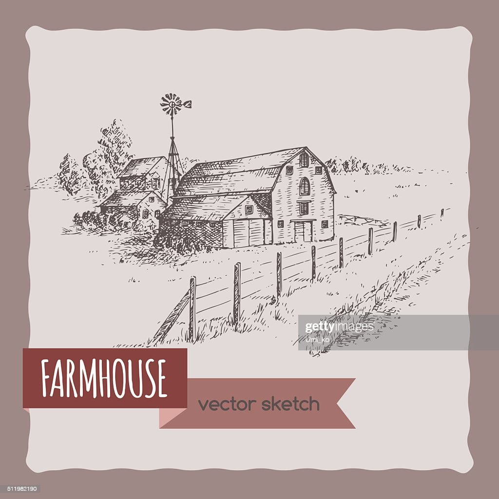 American farm house, barn and pasture hand drawn vector sketch.