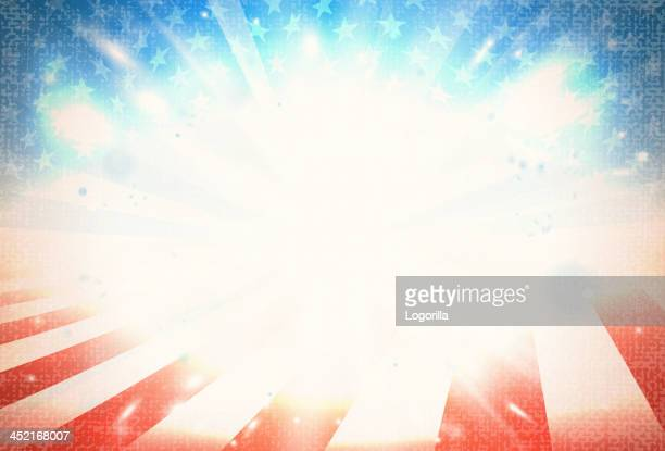american flag art with light in the middle  - fourth of july stock illustrations