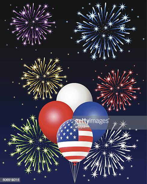 American Flag Balloons with Fireworks