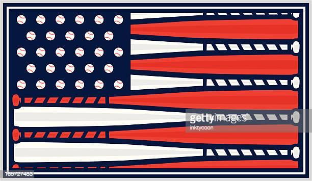 american flag baseball design - baseball bat stock illustrations, clip art, cartoons, & icons