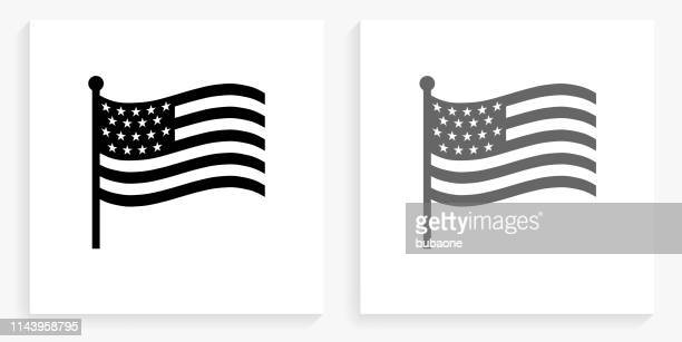 american flag black and white square icon - american flag stock illustrations