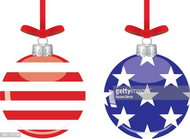 american flag christmas ornaments - patriotic christmas stock illustrations