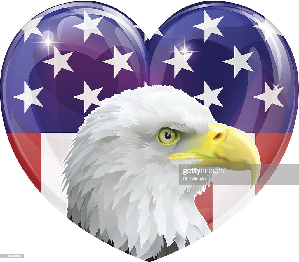 American flag eagle love heart