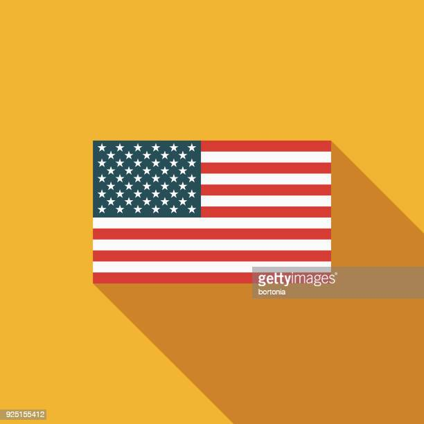 American Flag Flat Design USA Icon with Side Shadow
