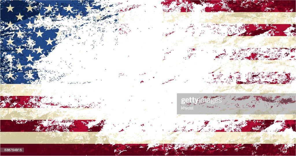 American flag. Grunge background. Vector illustration