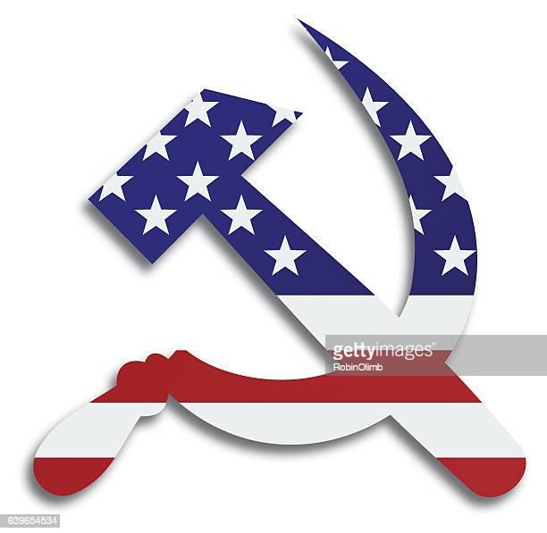 ilustrações, clipart, desenhos animados e ícones de american flag hammer and sickle icon - cultura russa