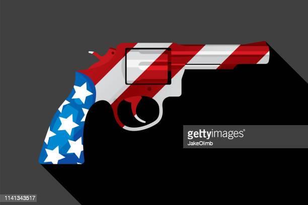 american flag handgun - political rally stock illustrations, clip art, cartoons, & icons