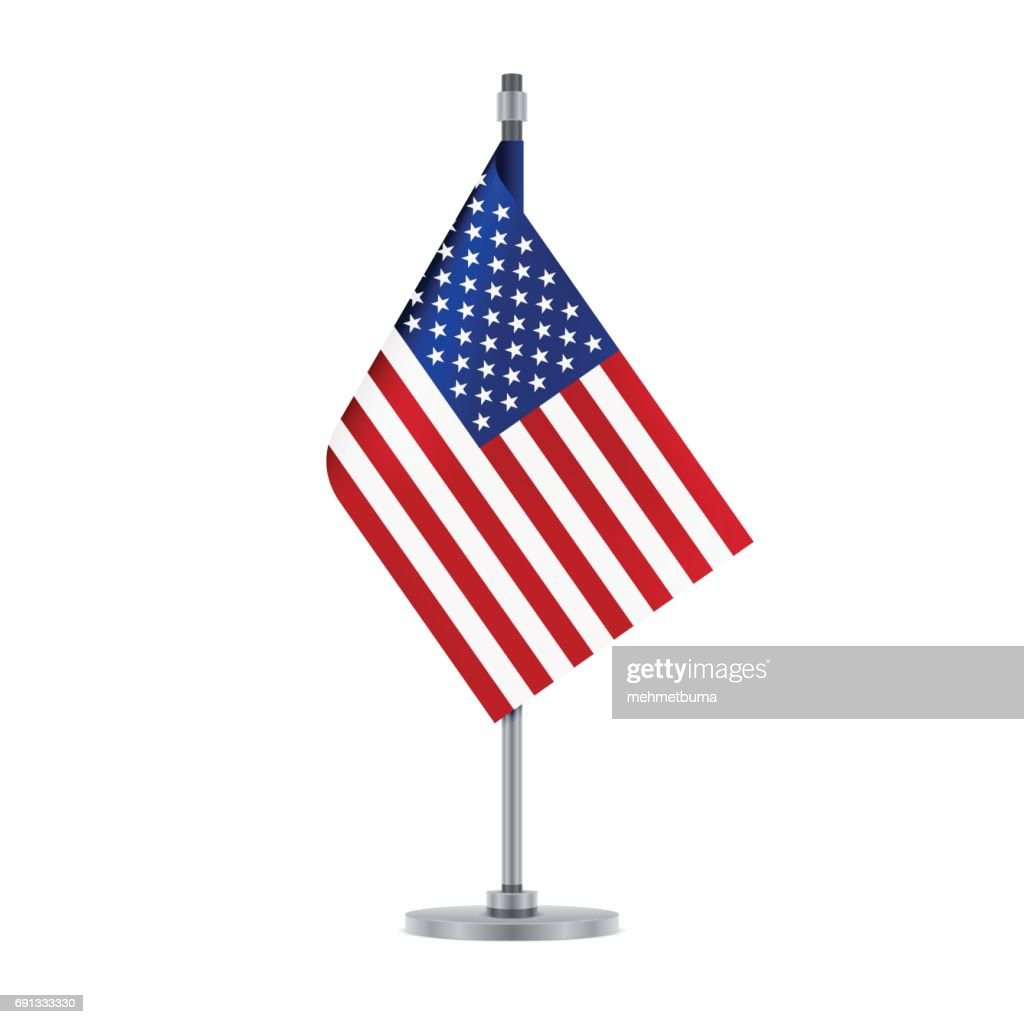 American flag hanging on the metallic pole, vector illustration