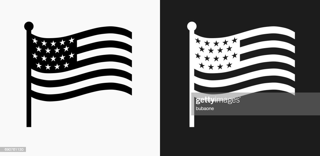american flag icon on black and white vector backgrounds