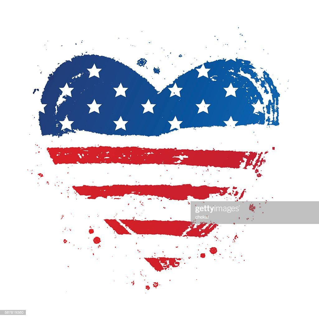 American flag in the shape of a heart