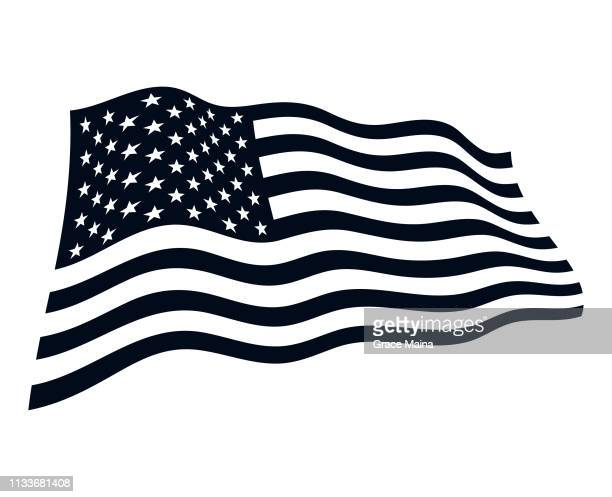american flag in the wind illustration - vector - black and white stock illustrations