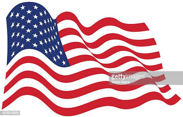 American Flag In The Wind Illustration - VECTOR