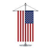 American flag on the cross metallic pole, vector illustration