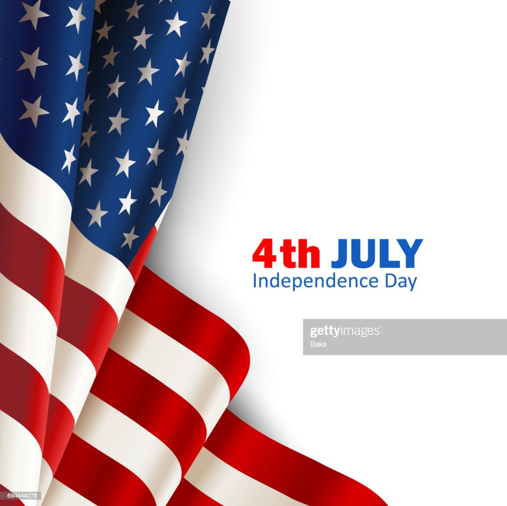 American flag on white