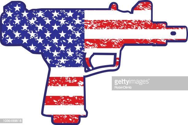 american flag semi automatic pistol - trigger stock illustrations