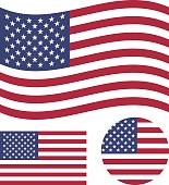 American flag set. Rectangular, waving and round circle US flag. United States national symbol. Vector icons