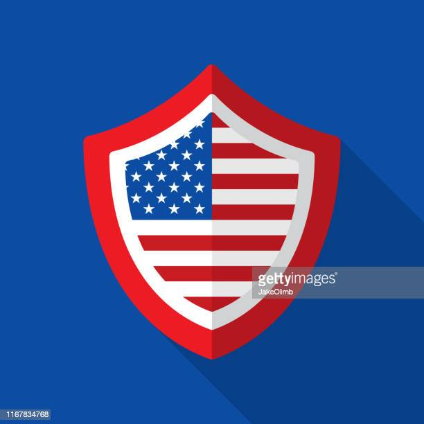 american flag shield icon flat 2 - department of defense stock illustrations