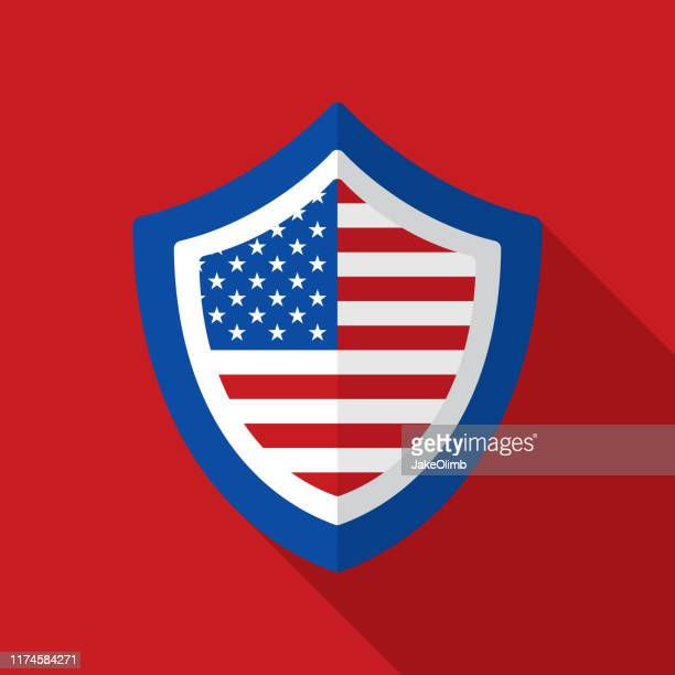 american flag shield icon flat 3 - department of defense stock illustrations