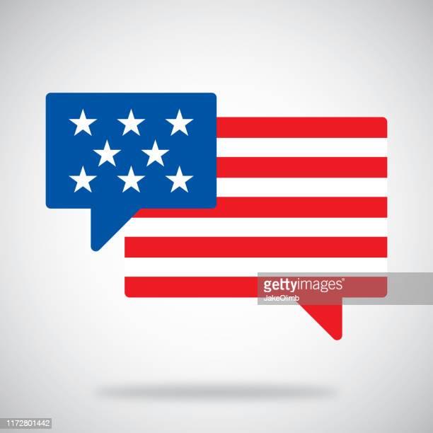 illustrazioni stock, clip art, cartoni animati e icone di tendenza di bolle vocali bandiera americana - manifestante