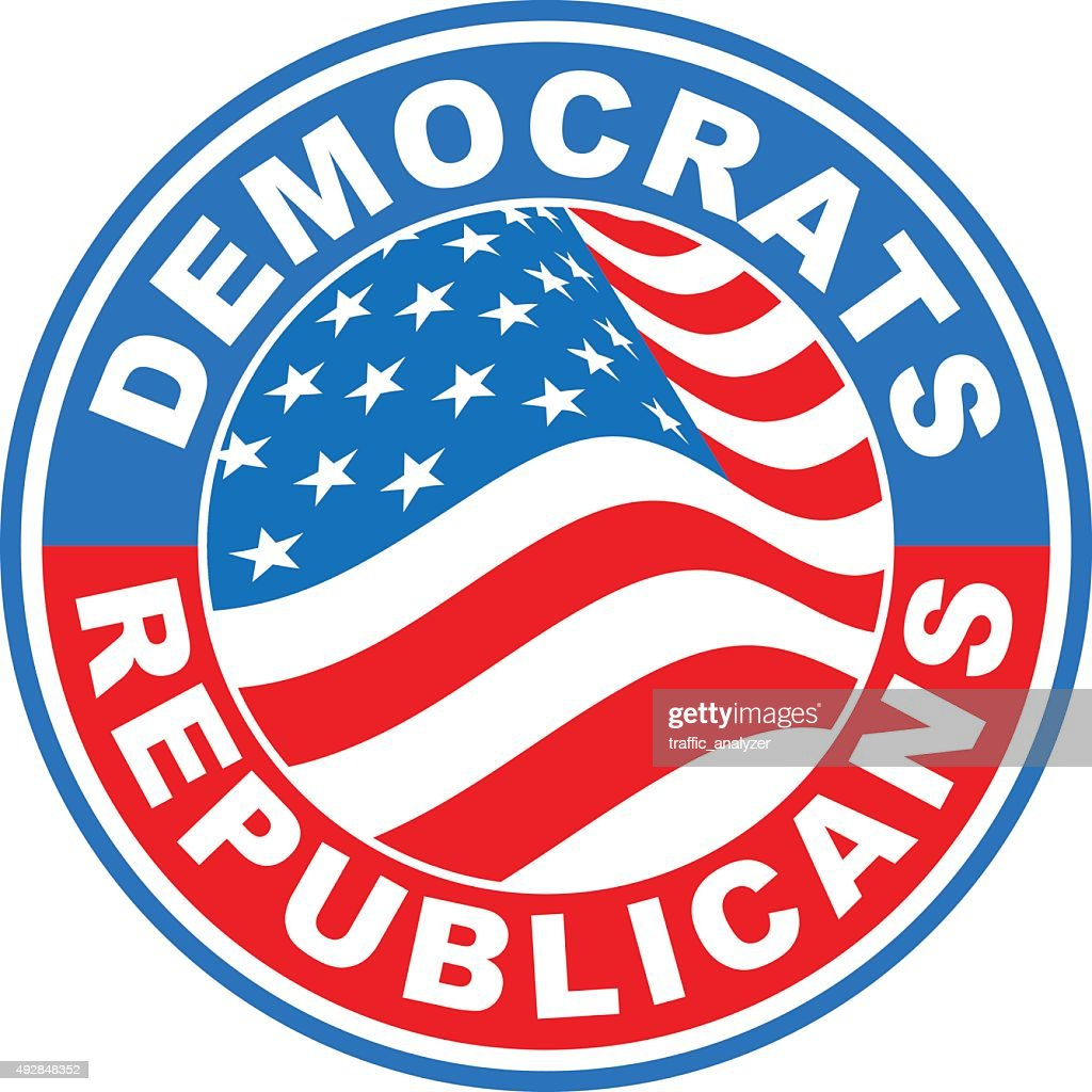 American flag sticker - democrats and republicans