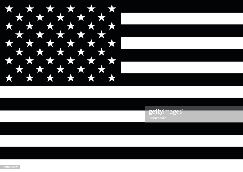 American flag with 50 stars in black and white