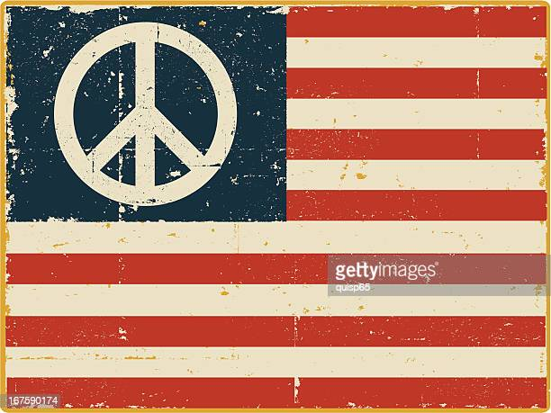 american flag with peace symbol - peace stock illustrations, clip art, cartoons, & icons
