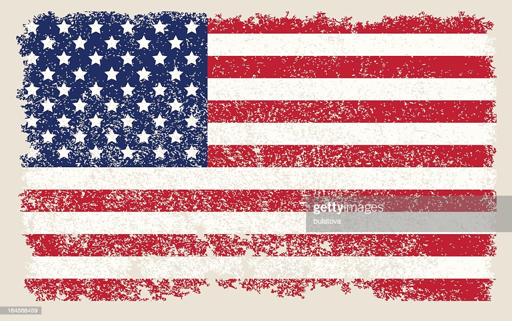 American flag with stars and stripes in a faded grunge style