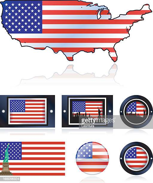 american flags - liberty island stock illustrations, clip art, cartoons, & icons