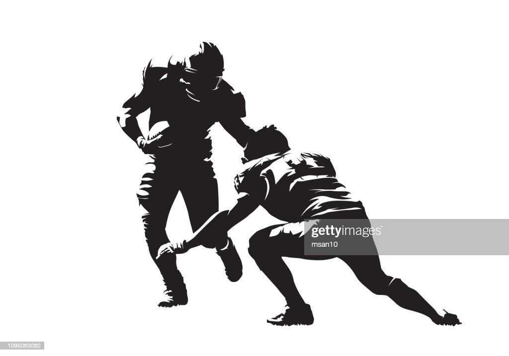 American football action, two players. Isolated vector silhouette, ink drawing